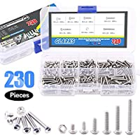 Glarks 230Pcs M3 Stainless Steel Allen Hex Drive Button Head Socket Cap Bolts Screws Nuts Assortment Kit (M3) by Glarks