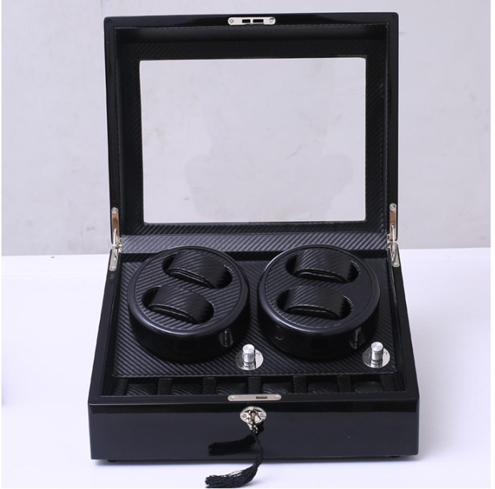 KAIHE-BOX Luxury black carbon fiber 4+6 Watch Winder Display Box Case [100% Handmade]