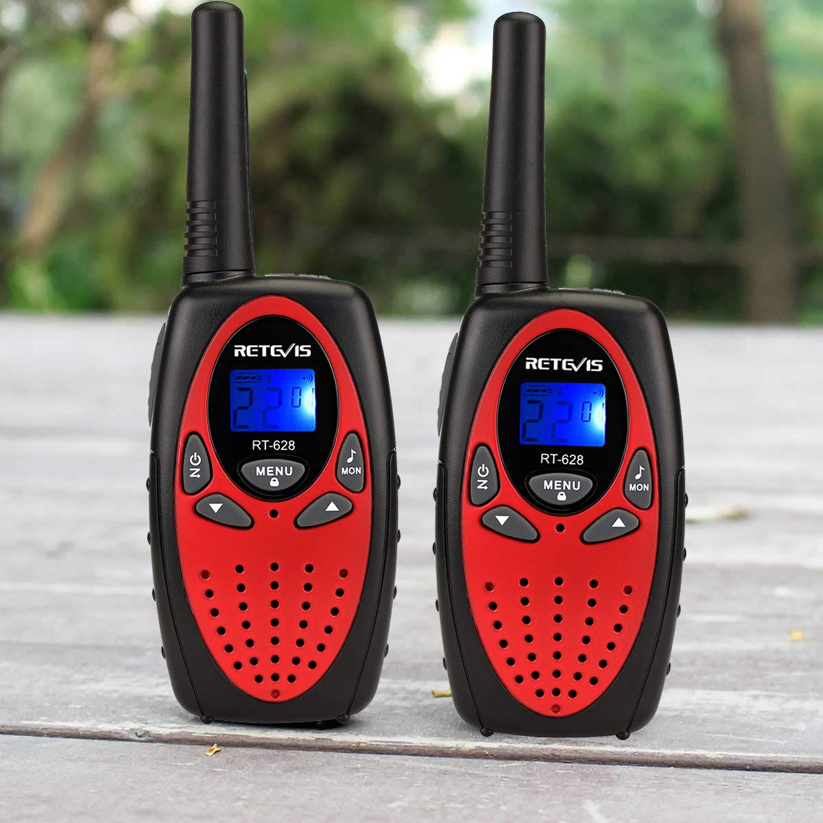 Retevis RT628 Walkie Talkies 22CH VOX FRS License-Free 2 Way Radios UHF Handheld Two Way Radio(4 Pack,Red) by Retevis (Image #2)
