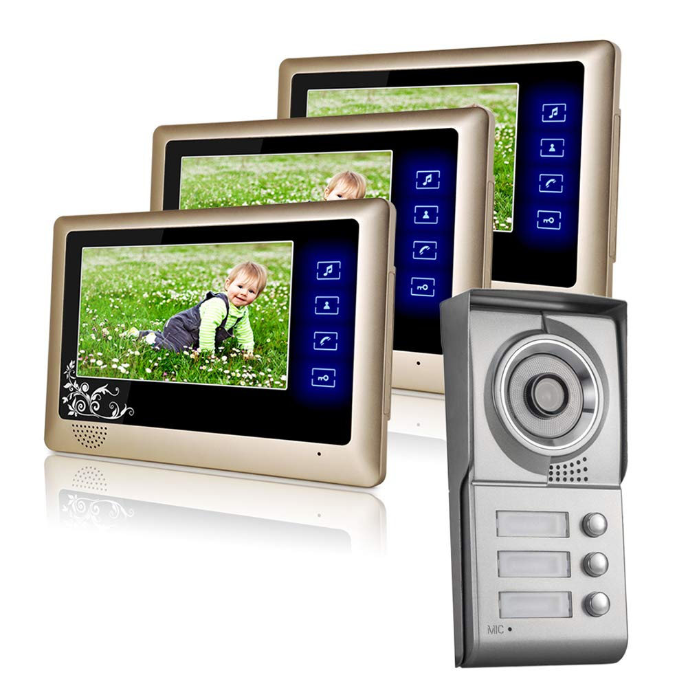 3 Units Apartment Intercom Wired 7  Monitor Video Intercom Doorbell Door Phone Audio Visual Intercom Entry Access System Suitable Villas Unit Buildings Shopping Malls Etc