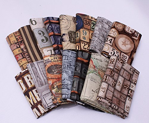 Field's Fabrics 10 Fat Quarters - Tim Holtz Assorted Free Spirit Maps Rulers Numbers Charts Classic Quality Quilters Cotton Fabrics Fat Quarter Bundles Pre-cuts (Map Fabric Chart)