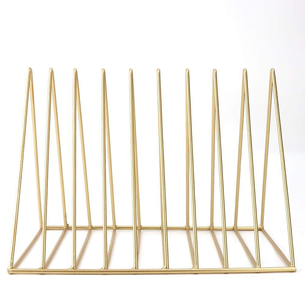 Woyisisi 9 Slot Triangles Iron Magazine//Book//File Holder Organizer da tavolo per scaffali Nero