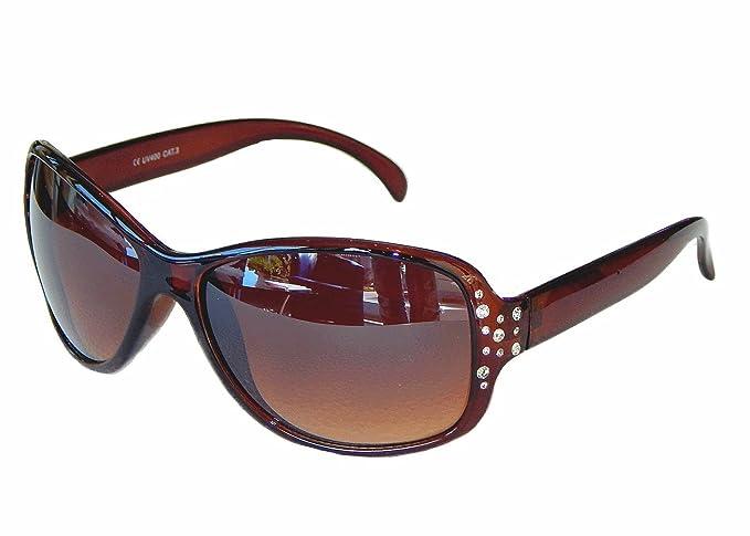 Damenbrille Sonnenbrille mit Strass Brille Damen Sunglasses M 38 (Braun) QJzlSVQcc