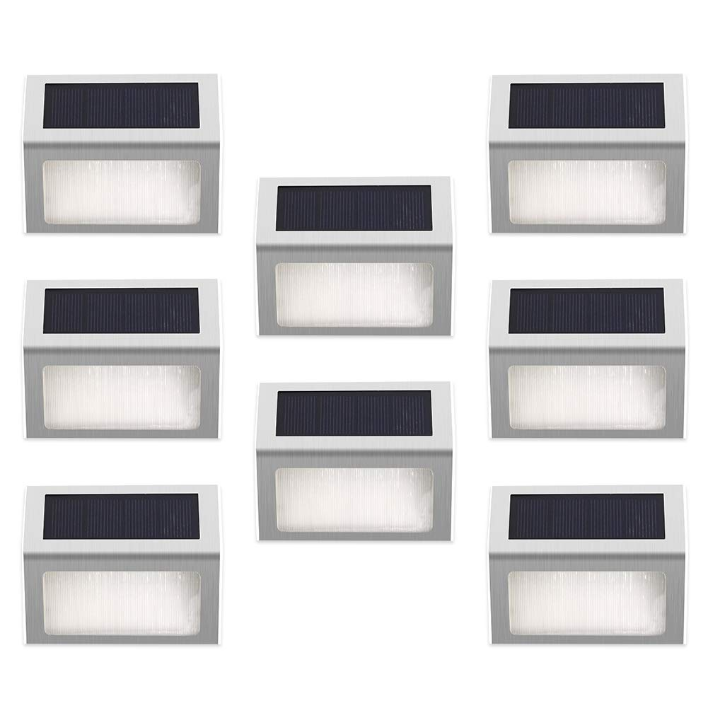 ELECCTV 8 Pack Solar Step Lights 3 LED Solar Powered Stair Lights Outdoor Lighting for Steps Paths Patio Decks Waterproof