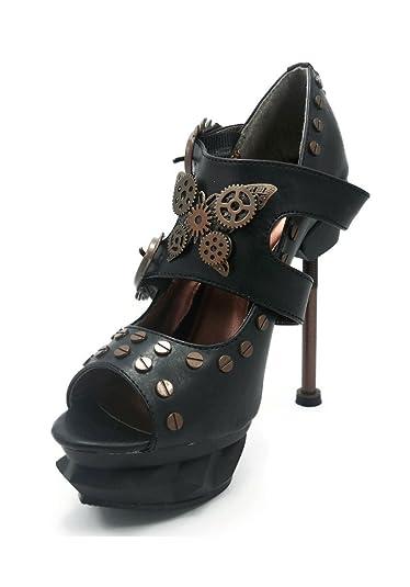Hades Women's Sky Captain Steampunk Style Peep Toe Pumps ...