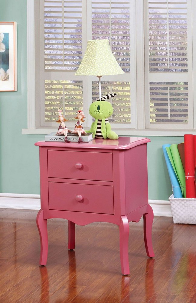 247SHOPATHOME IDF-AC325PK Childrens, nightstand, Pink Furniture of America