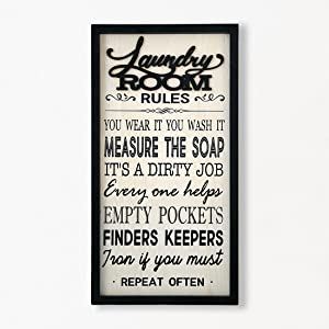 Eternhome Laundry Room Decor Laundry Rules Funny Laundry Sign Farmhouse Wood Wall Decor Vintage Rustic Home Decor Rustic Frame Bathroom Wall Art 18 X 10 Inch