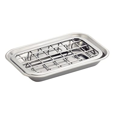 InterDesign Gia Kitchen Counter/Sink Soap Dish – Self Draining Soap Saver Design - Polished Stainless Steel