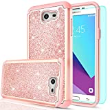 Galaxy J7 Perx Case,Galaxy J7 Prime / J7 V/ J7 Sky Pro/ Halo Glitter Case with HD Screen Protector,LeYi Hybrid Heavy Duty Protection [PC Silicone Leather] Case for Samsung Galaxy J7V 2017 TP Rose Gold