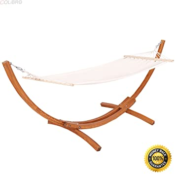 Charming COLIBROX  142u0026quot;x50u0026quot;x51u0026quot; Wooden Curved Arc Hammock Stand With  Cotton