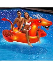 Aqua Oversized 8 Foot, Scorch The Dragon, 4 Mode, 16-Color Led Light-Up, Ride On, Inflatable Pool Float Lounge