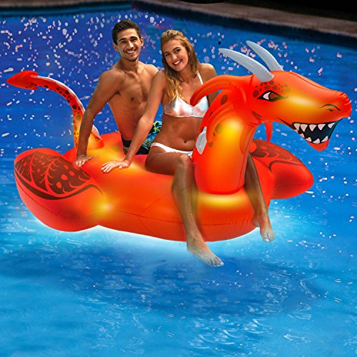 - Aqua Oversized 8 Foot, Scorch The Dragon, 4 Mode, 16-Color LED Light-Up, Ride On, Inflatable Pool Float Lounge