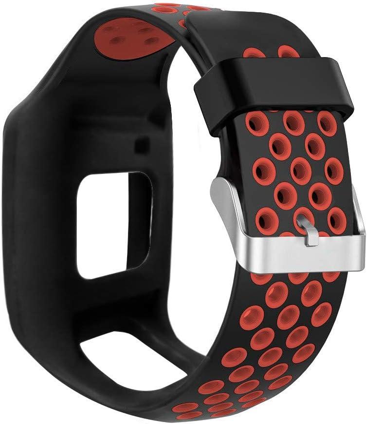Ixkbiced Reemplazo de la Pulsera de la Correa de muñeca de la Correa de Reloj de Silicona Suave a Prueba de Golpes para Tomtom 1 Multi-Sport GPS HRM CSS Am Cardio Runner Watch Accesorios
