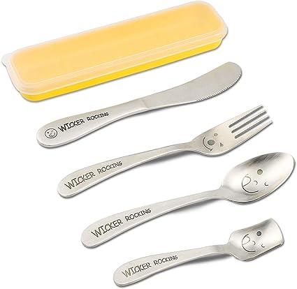 Juego de cubertería para niños, cuchillo tenedor, cuchara de acero inoxidable, 4 piezas, cubertería para escuela, viajes, camping con funda portátil ...