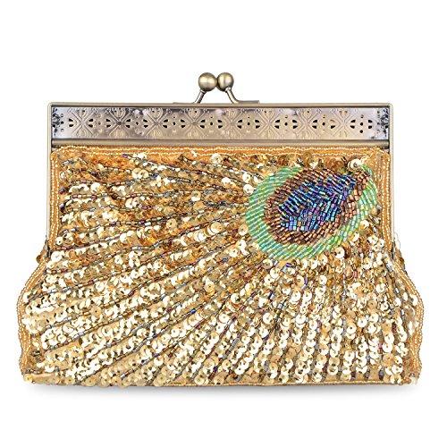 Clutch Beaded Evening Purse Wedding Exquisite Peacock Party Pattern Women's Handbag Gold Retro xYAqIwSq7