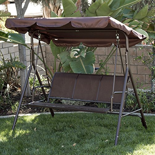 Belleze Outdoor 3-Person Patio Swing Canopy Awning Yard Furniture Hammock Steel, Dark Brown (Swing Bed Outdoor Furniture)