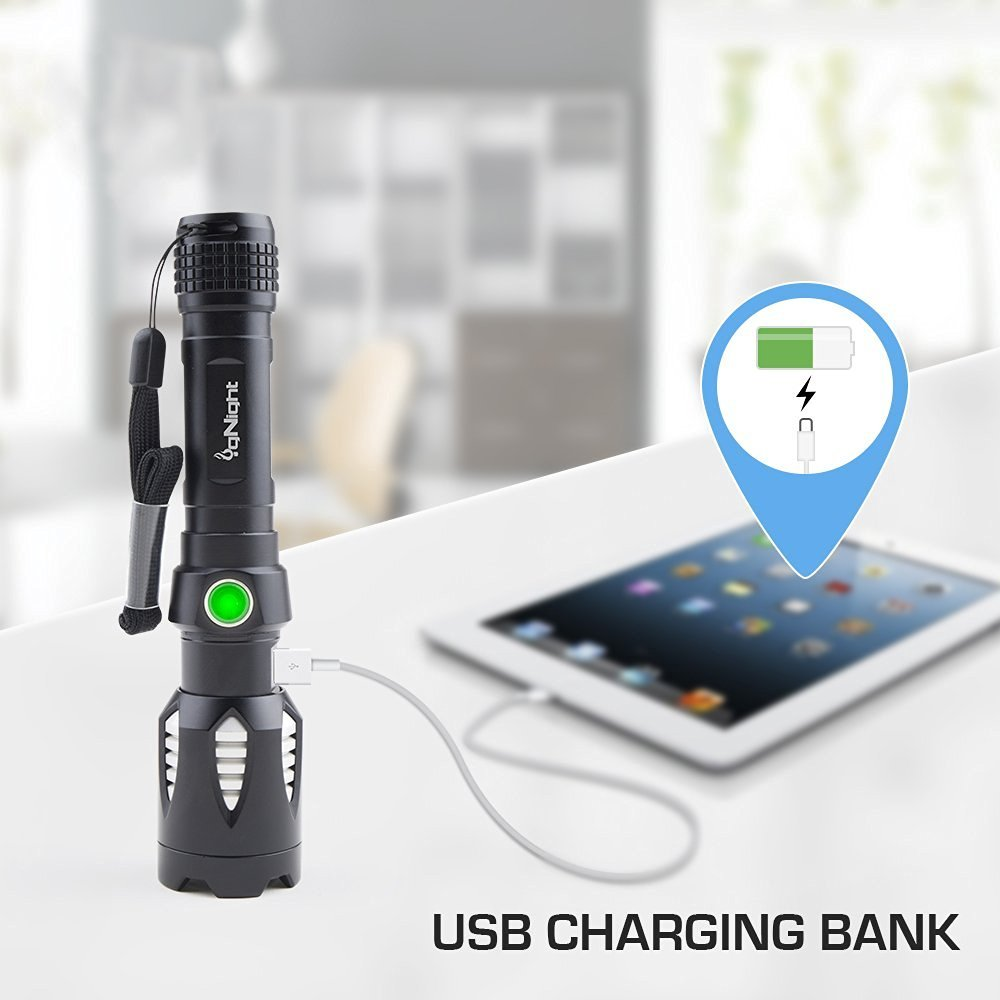 Guard Dog Security igNight 800 Lumen Multimedia USB Charging Tactical Flashlight with 5 Functions Rechargeable Lexage Corporation TL-GDI800