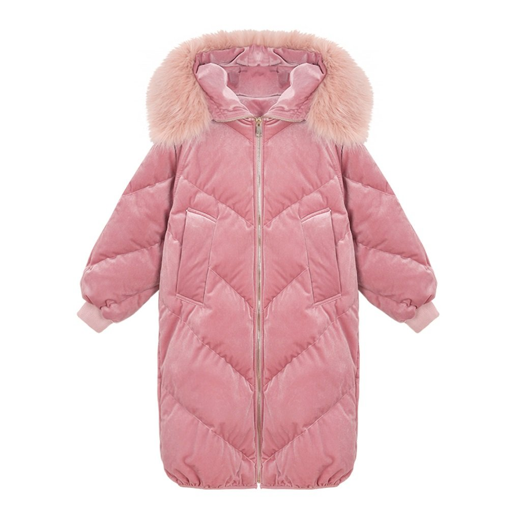 lime Women Soft Elegant Long Sleeves Jacket Warm Thickening Down Coat Leisure Thickening Straight Long Sections Cotton Coat ( Color : Pink , Size : L ) by Like