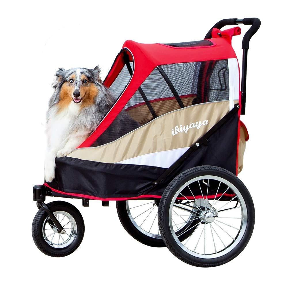 Red ibiyaya 2-in-1 Heavy Duty Dog Stroller Pull Behind Bike Trailer for Medium & Large Dogs