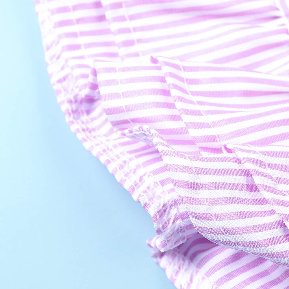 OCHENTA Little Girls Summer Striped Ruffled Sleeve Button Down Shirt with Bow