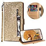 Luxury Glitter Bling Zipper Wallet Phone Case for Samsung Galaxy S7, MOIKY Bookstyle PU Leather Flip Folio Magnetic Purse Pockets Credit Card Holder Wrist Strap Case Cover for Samsung Galaxy S7 - Gold