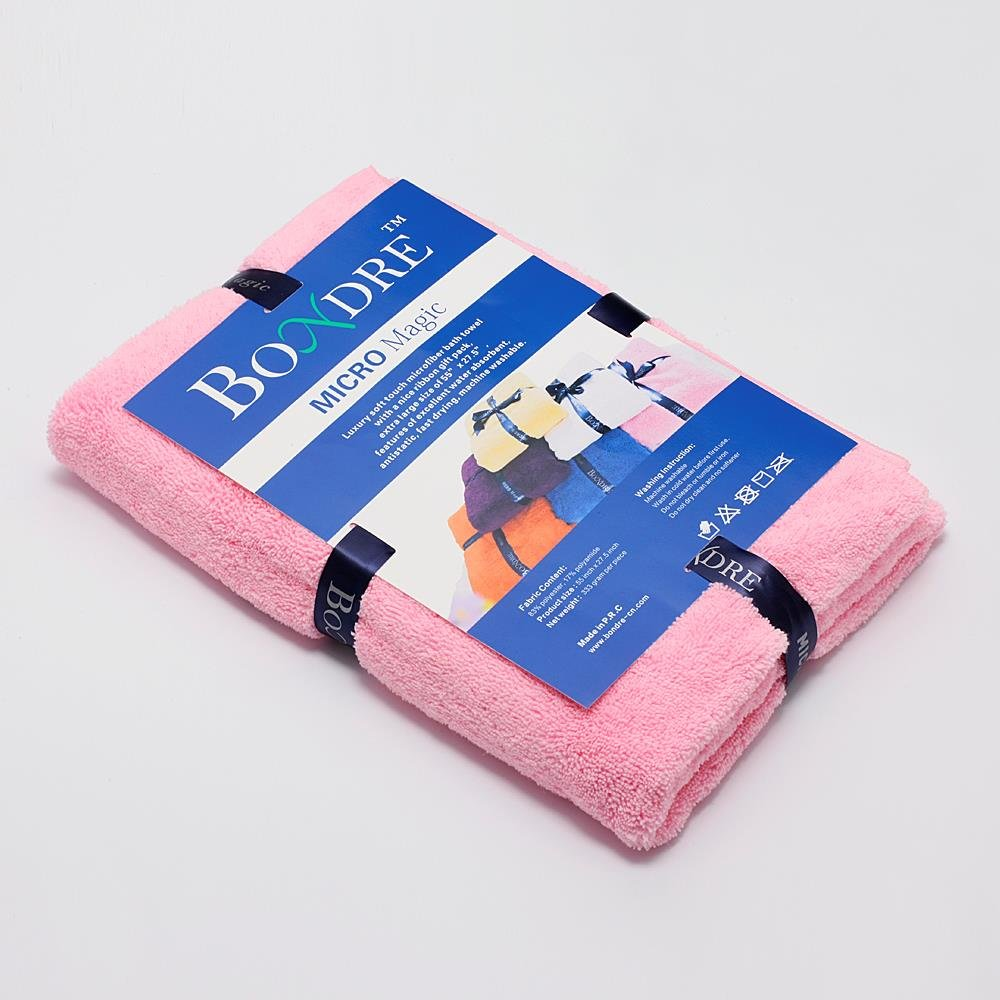 """BONDRE Luxury Soft Touch Microfiber Bath Towel with a Nice Ribbon Gift Pack Purple Extra Large Size of 55/""""x 27.5/"""""""
