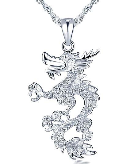 158192a30ef7 Infinito - Collares Mujer de Plata de ley 925 Colgante de Dragón Chino con  Circonita Cúbica Collar para Mujeres Chicas con Cadena de 45 cm