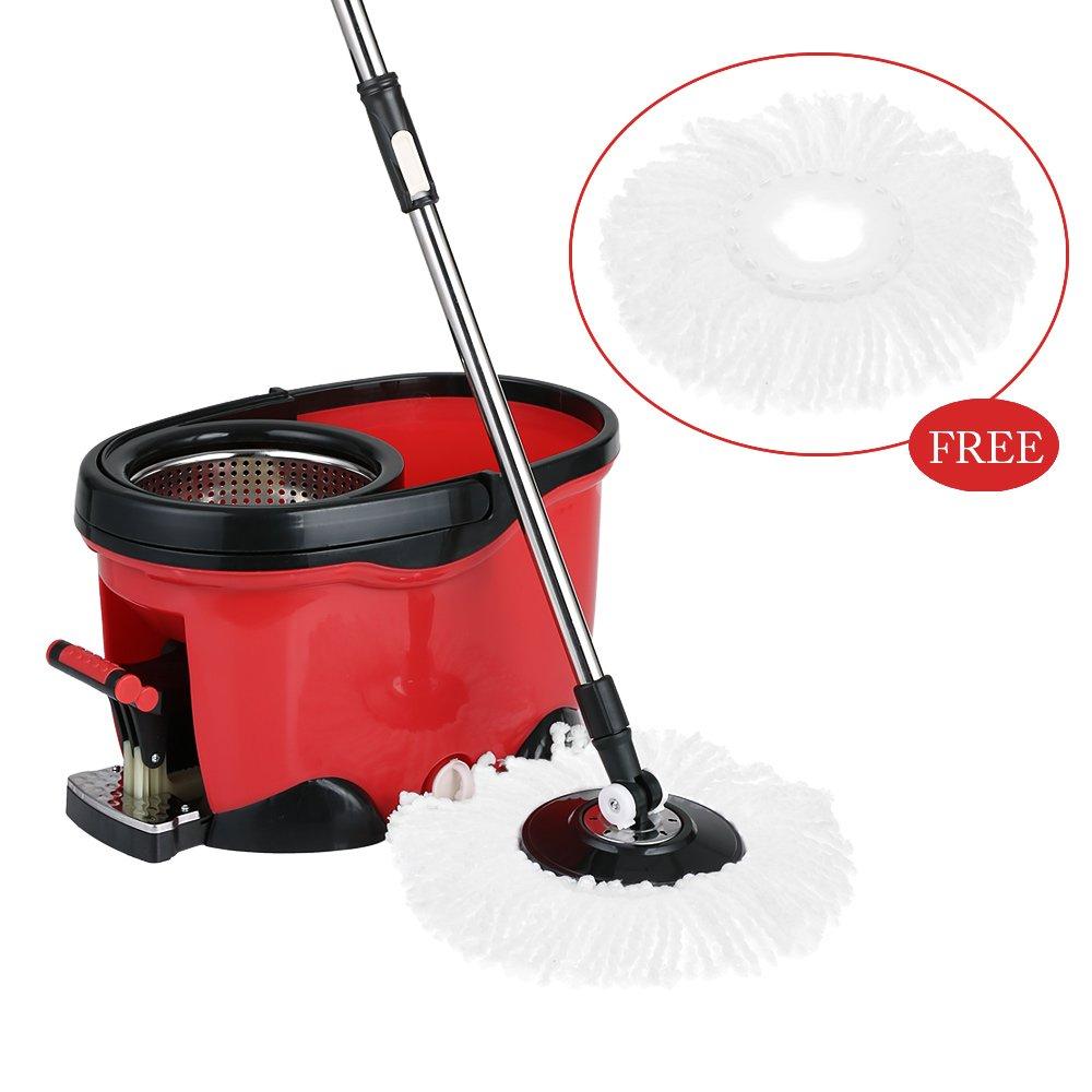 IKAYAA Easy Wring 360 Rolling Spin Mop with 2 Microfiber Mop Heads, Foot Pedal Floor Mop Bucket Set