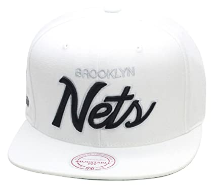 4f55a8d0cfb87a Image Unavailable. Image not available for. Color  Mitchell   Ness Brooklyn  Nets Snapback Hat All White   Black Script