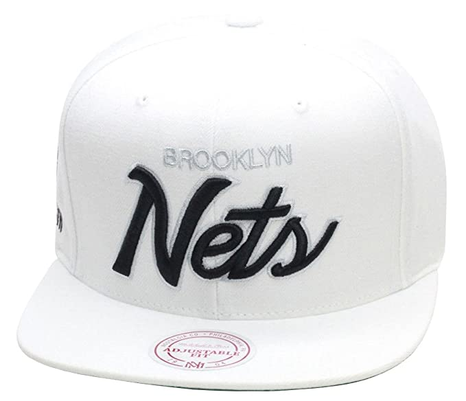 6da5bbfdb29 Image Unavailable. Image not available for. Color  Mitchell   Ness Brooklyn  Nets Snapback Hat All White   Black Script