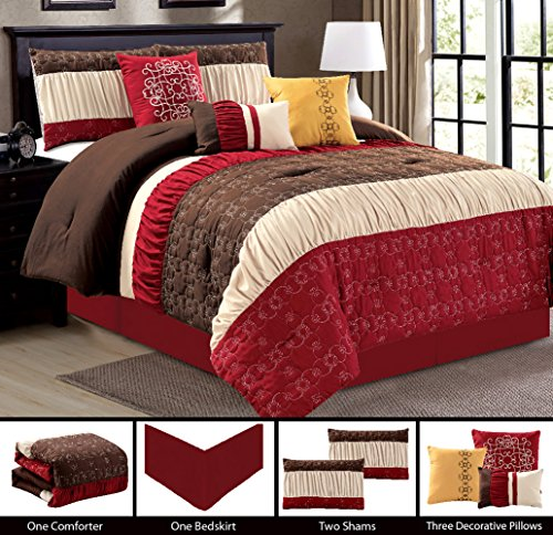 Modern 7 Piece Bedding Light Burgundy / Brown / Beige Ruffle Embroidered Comforter Set with accent pillows