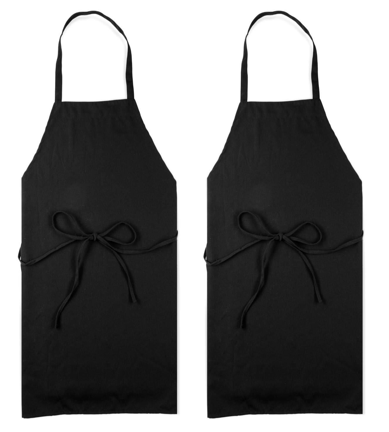 Professional Black Bib Aprons for Restaurant - Set of 2 Durable Adult Waitress Chef Kitchen Apron for women & men (2 Pack - Black)