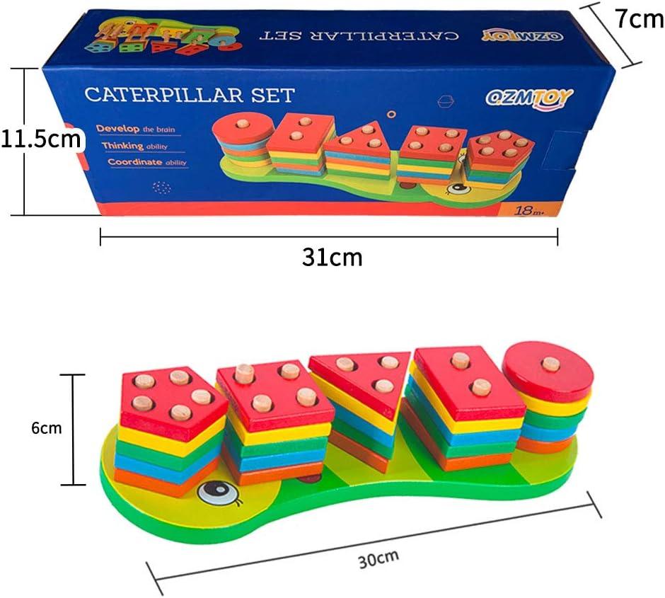 Forma di Riconoscimento del Colore Stack Gioco Educativo per Bambini con 16 Pezzi di Legno Arkmiido 2 in 1 Giocattoli Forme Geometriche Magnetico di Pesca