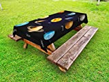Ambesonne Educational Outdoor Tablecloth, Realistic Solar System Planets and Space Objects Asteroids Comet Universe Space, Decorative Washable Picnic Table Cloth, 58 X 84 inches, Multicolor