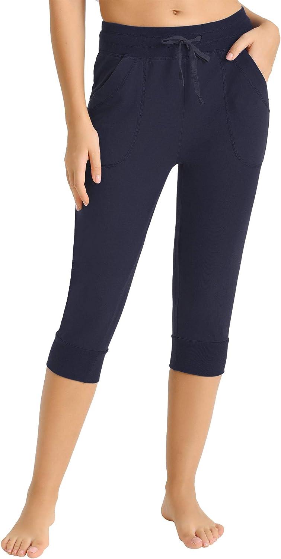 Latuza Womens Cotton Sweatpants Jersey Capri Pants with Pockets