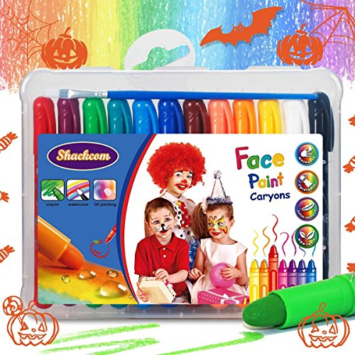 Face Paint Crayons for Kids and Adult, 24 Pens, One Brushes, Professional Body Paint Kit, Smooth, Safe, Non-Toxic, Easy to Apply and Wash Off, Face Painting Set for Christmas, Halloween, -