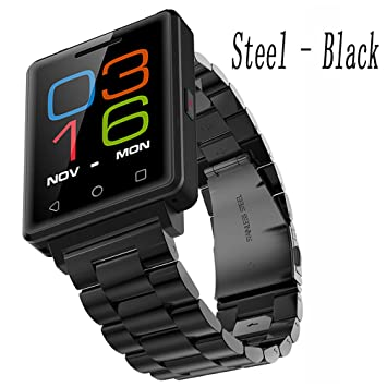 Black Steel Reloj De Teléfono Inteligente For Girls , Shengyaohul Digital Wrist Watch Pedometer Instrucciones Del