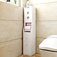 IOTXY Bathroom Floor Storage Cabinet, Toilet Tissue Cabinet with Trash Can and Drawer, Toilet Paper Storage Container, White