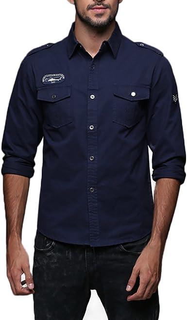 ALIKEEY Hombres Solapa Cotton Casual Ropa De Trabajo Camisa De ...
