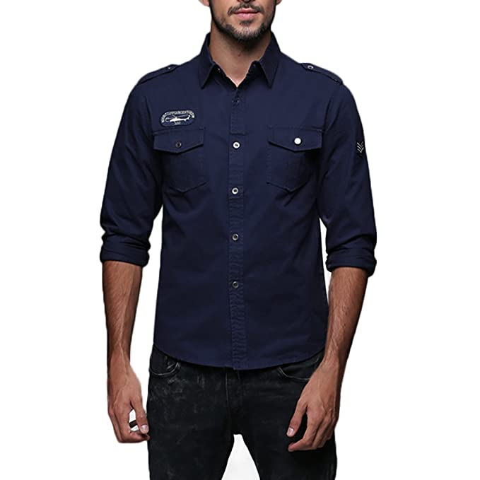 ALIKEEY Hombres Solapa Cotton Casual Ropa De Trabajo Camisa De Manga Larga  Hombres Otoño Casual Slim Shirt Top Blusa Botón Carga Militar  Amazon.es   Ropa y ... 2f95332e045a