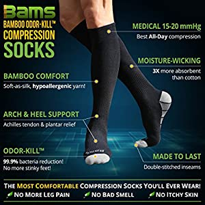 [Odor-Free] Bamboo Compression Socks for Men, Women by BAMS | Best SOFT Antibacterial 15-20 mmHg Medical Graduated Knee High Sock for Pain, Swelling, Injury, Sports, Diabetic, Nurse, Maternity, Travel