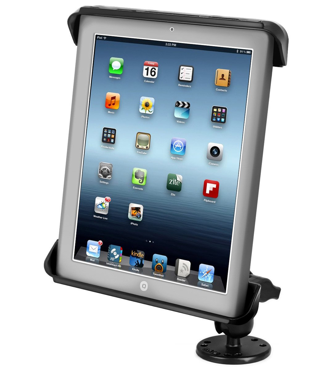 RAM MOUNTS (RAM-B-138-TAB3U Flat Surface Mount with Tab-Tite Universal Clamping Cradle for The Apple Ipad 4, Ipad 3, Ipad 2 & Ipad 1 with Or Without Light Duty Case by RAM MOUNTS