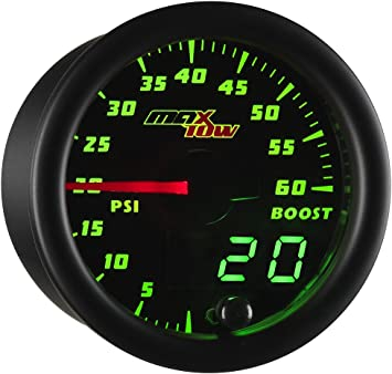 "2/"" DIGITAL LED ELECTRONIC 35PSI BOOST GAUGE PRESSURE METER TURBO CHARGED 12V"