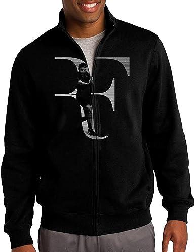 Shntmt Men Roger Federer Rf Logo Zip Up Jacket Hooded Sweatshirt Black At Amazon Men S Clothing Store