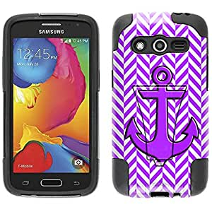 Samsung Galaxy Avant Hybrid Case Anchor on Chevron Mini Purple White 2 Piece Style Silicone Case Cover with Stand for Samsung Galaxy Avant