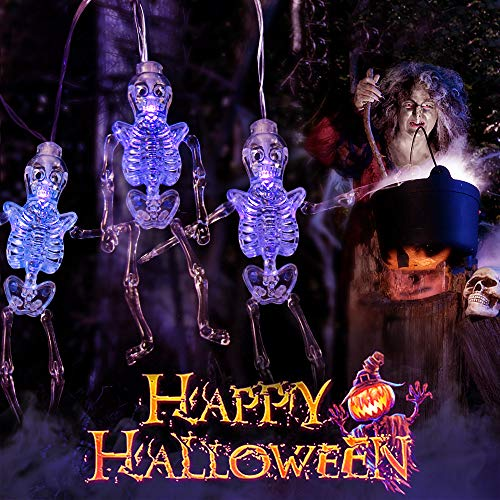 (MZD8391 Halloween String Lights, Upgraded 22FT 30LEDs Skeleton Skull Halloween Decorations Lights with Remote Control, 8 Lighting Modes USB & Battery Operated Outdoor Halloween Lights)