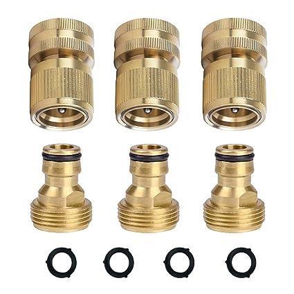 HQMPC Garden Hose Quick Connectors Garden Hose Connectors Brass Quick Hose  End Connectors (3/