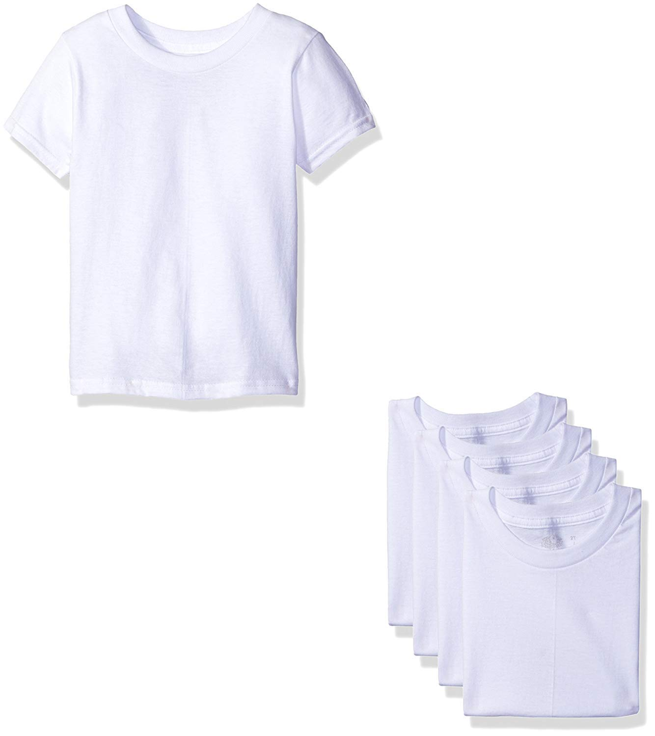 Fruit of The Loom Boys' Cotton White T Shirt (4T/5T(34-38'') lbs, Toddler - White Ice (5 Pack))