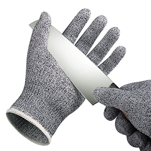 Fabal Proof Protect Safety Gloves Cut Metal Mesh Butcher Anti-Cutting Breathable Work Gloves Self Defense (X-Small, White)
