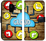 Luxlady Samsung Galaxy S9 Flip Fabric Wallet Case IMAGE ID: 34402076 Aerial View of People and Cloud Computing Concepts